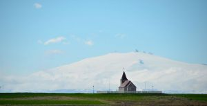 Church with Glacier, Western Iceland